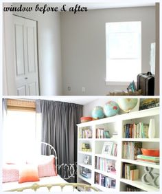 Helpful post with lots of pictures of bamboo blinds and window curtains. Small window with wall of curtains