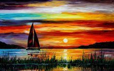sunset paintings leonid afremov sailboats oil painting 1900x1200 ...