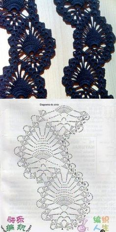 Diagram pattern for pineapple stitch crochet that cab be used for borders Crochet Lace Edging, Crochet Diy, Thread Crochet, Irish Crochet, Crochet Doilies, Crocheted Lace, Crochet Stitches Chart, Crochet Diagram, Cardigan Au Crochet