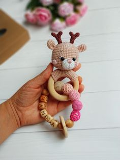 Cotton Deer rattle baby rattle Personalized rattle Baby gym toy Postpartum baby gift Pregnancy gift for Mom Woodland Baby shower gift Crochet Gifts, Crochet Toys, Crochet Baby, Newborn Crochet, Newborn Toys, Baby Toys, Kids Toys, Baby Shower Gifts, Baby Gifts