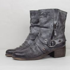 Rare Steve Madden Distressed Leather Harness Boots Size 8  | eBay