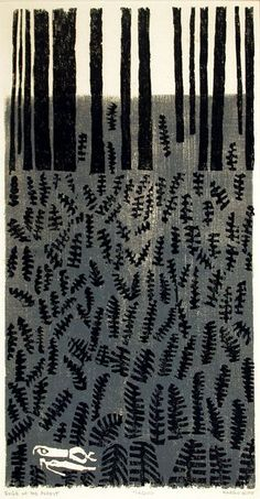 Margo Hoff American b. 1912 Edge of the Forest, 1956 woodcut on laid paper    I am everybody and every time,I always call myself by your nam...