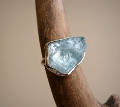Big Rough Aquamarine Ring Sterling Silver - Custom select your stone and size
