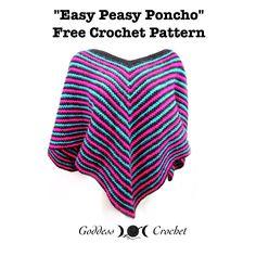 Easy Peasy Poncho, free crochet pattern by Goddess Crochet ༺✿ƬⱤღ✿༻