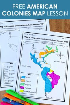 Colonization of the Americas Map Lesson 7th Grade Social Studies, Social Studies Notebook, Social Studies Classroom, Teaching Social Studies, Teaching Maps, Teaching Us History, History Education, Teaching Ideas, Education Middle School