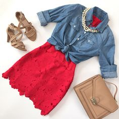 Red crochet dress, chambray shirt, camel rider bag, strappy nude sandals, summer outfits, petite fashion, click the photo for outfit details!