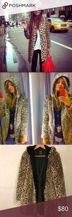 Zara TRF faux fur leopard coat with hoodie Good condition, tiny rip in right pocket and rip in the lining. Warm, comfy, so chic and timeless Zara Jackets & Coats