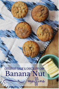 The BEST Muffins you'll ever make--ever! cinnamon sugar, chocolate chip banana nut muffins recipe on www.littlemissmomma.com