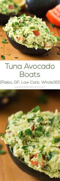 Paleo Tuna Avocado Boats - no mayo, just tuna and avocado! (gluten free, low carb, paleo diet whole 30 Paleo Recipes Easy, Avocado Recipes, Whole 30 Recipes, Low Carb Recipes, Diet Recipes, Cooking Recipes, Vegetarian Recipes, Tuna Recipes, Vegetarian Lunch