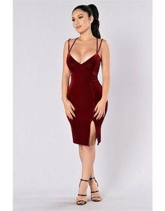 Wine Red Velvet Split Dress