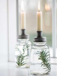 Get creative with your candlelight by adding your own decorative details to these glass candle holders with a metal cover. Floor Candle Holders, Rustic Candles, Vintage Candle Holders, Pillar Candles, Candle Jars, Candle Centerpieces For Home, White Candles, Centrepieces, Table Decorations