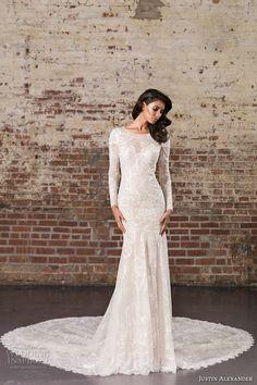 justin alexander spring 2017 bridal long sleeves jewel neckline full embellishment elegant lace fit and flare wedding dress illusion back royal train (9856) mv