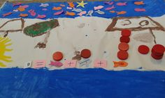 Πρόσθεση με τρεις αριθμούς.  Ψάρια τριών διαφορετικών χρωμάτων με αρίθμηση από το ένα ως το πέντε.
