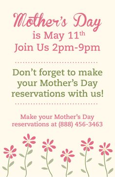 Make your Mother's Day reservation today!