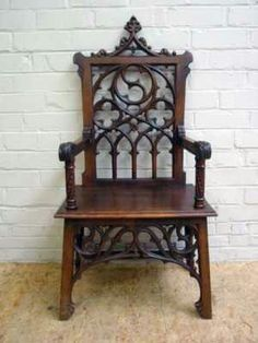 French Gothic Arm Chair Walnut 19th Century, Victorian Gothic Revival