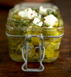 Feta Marinated in Olive Oil and Herb