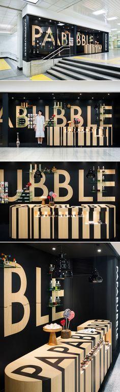 torafu architects: papabubble candy shop at JR shinjuku station #typography #signage #branding