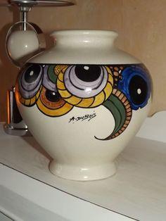 Plateforme de ventes aux enchères en ligne Catawiki : Antoine Dubois -Vase craquelé keramis a decor géométrique art déco
