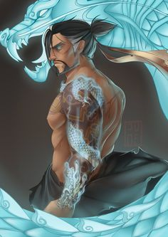 """Got carried away with a sketch oops. Messing around with painting styles~ Hanzo is still probs my fave."""