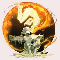 'Melt My Heart' Art Print by Gabriel Picolo based on Icarus and the Sun. Art Anime, Anime Kunst, Art And Illustration, Fantasy Kunst, Fantasy Art, Gabriel Picolo, Bd Art, Inspiration Art, Heart Art