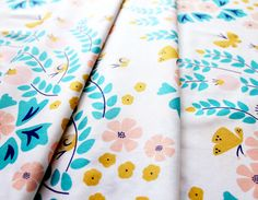 Cloud9 Fabrics Lotus Pond Meadow Blossoms Coral