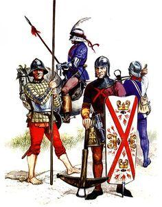 """Burgundy - Men of the ordinances, 1471-77""   • Pikeman  • Coustillier  • Crossbowman  • Crossbowman"