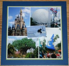 4 parks 1 world scrap book page. Will have to remember to do this!
