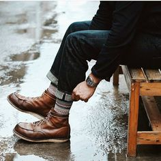 Cuffed Jeans + Brown Boots + Knitted Socks