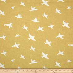Premier Prints Bird Silhouette Saffron from Screen printed on… Herringbone Subway Tile, Kitchen Fabric, Light Grey Walls, Premier Prints, Bird Silhouette, Wall Design, Fabric Design, Screen Printing, Duvet Covers