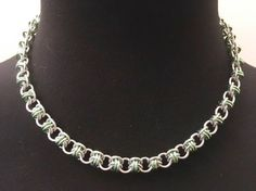 "3/16"" Bright & Green Aluminum Chain Necklace - Steel Silver Necklace - Small Thin Feminine Necklace - Charm Pendant Necklace - Orbital Chain by JohnsChainmailShop from John's Chainmail Shop. Find it now at http://ift.tt/2i9ayha!"