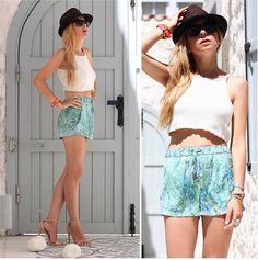 Vintage Top, Zara Shorts, Zara Heels