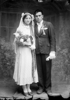 Vintage Romanian bride and groom. Photo by Costica Acsinte.