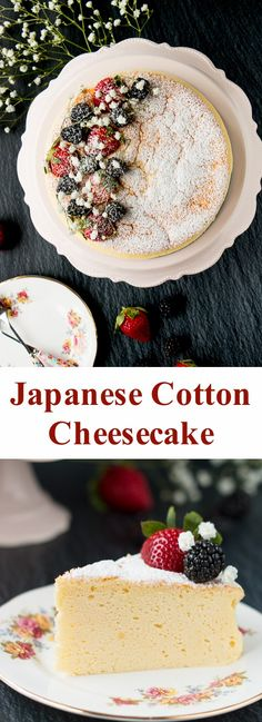 This Japanese cheesecake has the texture of a sponge cake and taste of a cheesecake. It's the best of both in one amazing dessert! Great Desserts, Party Desserts, Delicious Desserts, Dessert Recipes, Yummy Food, Baker Recipes, Sushi Recipes, Gourmet Desserts, Plated Desserts