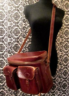 Vintage Russet Leather GadgIt Bag by MISSVINTAGE5000 on Etsy, $60.00