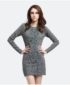 lace solid color Slim knitted dress    $57.92