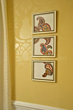 $5 Paisley Triptych Art - how to at www.whatsurhomestory.com