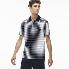 Lacoste Men's Slim Fit Striped Piqué Polo Shirt ($87) ❤ liked on Polyvore featuring men's fashion, men's clothing, men's shirts, men's polos, polos polos, mens polo shirts, mens embroidered shirts, mens striped shirt, mens pique polo shirts and mens slim shirts