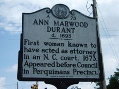 May 25, 1673: Ann Durant became the first woman to act in the capacity of an #attorney in #NC.