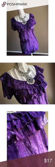 """NEW LISTING Purple Boho Top Purple Boho Top w/Sequins & Ruffles by Sami & Jo. Size 2X. Bust 50"""" lying flat, stretches out to 58"""". Shoulder to hem length 28.5"""". Sami & Jo  Tops Blouses"""