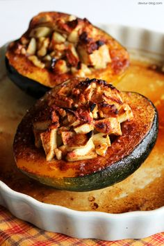 Acorn squash stuffed with tart apples, brown sugar, walnuts, cinnamon and butter.