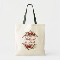 Elegant Poinsettia Personalized Floral Wedding Tote Bag Custom Tote Bags, Personalized Tote Bags, Floral Wedding, Elegant Wedding, Elegant Christmas, Sentimental Gifts, Christmas Card Holders, Mother Of The Bride, Wedding Gifts
