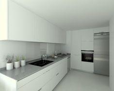 Aravaca | Cocina Santos | Modelo Minos Estratificado Blanco Perla | Encimera Compac Gris Plomo | Docrys Cocinas