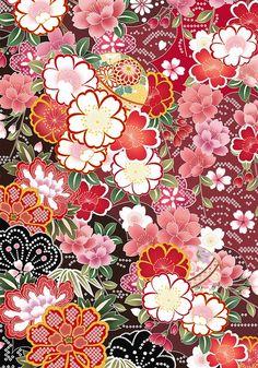 Flower pattern of Japan on Behance Asian Flowers, Japanese Flowers, Japanese Fabric, Japanese Prints, Japanese Style, Chinese Patterns, Japanese Patterns, Wallpaper Backgrounds, Cute Wallpapers