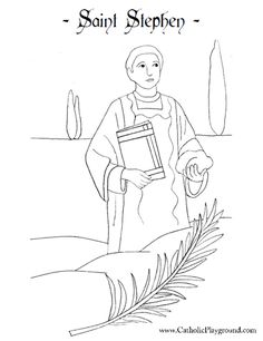 Saint Stephen, martyr Catholic coloring page.  Feast day is December 26th.