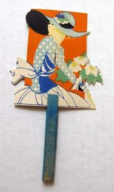 Vintage Bridge Tally Hand Fan w Woman Flowers | eBay