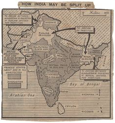 A map speculating on a possible division of India from the Daily Herald newspaper, 4 June 1947 Catalogue reference CAB Education History Timeline, History Facts, History Of Pakistan, India Independence, India Map, General Knowledge Facts, Country Maps, Alternate History, Vintage Maps