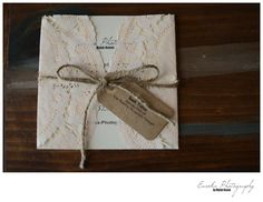 How to make your own wedding invitation!  Rustic, Vintage, Lace Wedding Invitations.  Peach, Cream, and Brown.   www.Eureka-Photography-blog.com