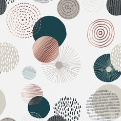 Seamless pattern with various round shapes and doodle. Neutral abstract contemporary design in minimalist style. Vector illustration - Buy this stock vector and explore similar vectors at Adobe Stock Name Wallpaper, Circle Art, Cute Patterns Wallpaper, Simple Backgrounds, Pretty Wallpapers, Geometric Art, Paper Design, Doodles, Artwork
