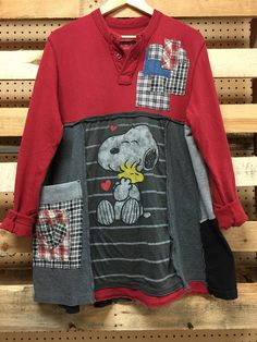 Upcycled Patchwork Love is Snoopy Woodstock