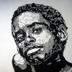 """""""the work of Belgium-based Kris Trappeniers who describes himself as a """"paper sculptor"""". His delicately cut stencils are among the most complex I've ever seen, the twisting, curving line work creating these amazing portraits that are unbelievably finished with spraypaint."""""""